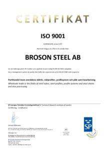 Broson Steel – Cert. ISO 9001 Steel